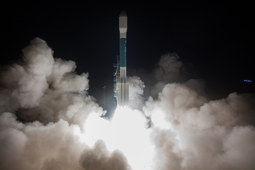 A ULA Delta II rocket lifts off with the Joint Polar Satellite System -1 (JPSS-1) mission from Space Launch Complex-2 at Vandenberg Air Force Base, CA., on Nov. 18, 2017. Photo by United Launch Alliance