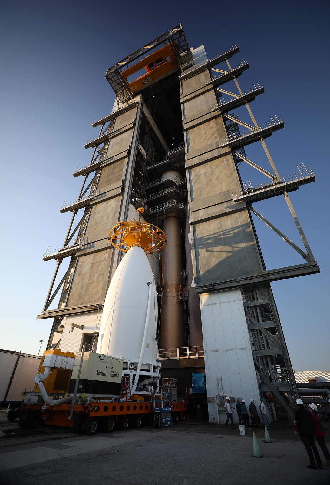 The USSF-7 payload arrives at the VIF. Photo by United Launch Alliance