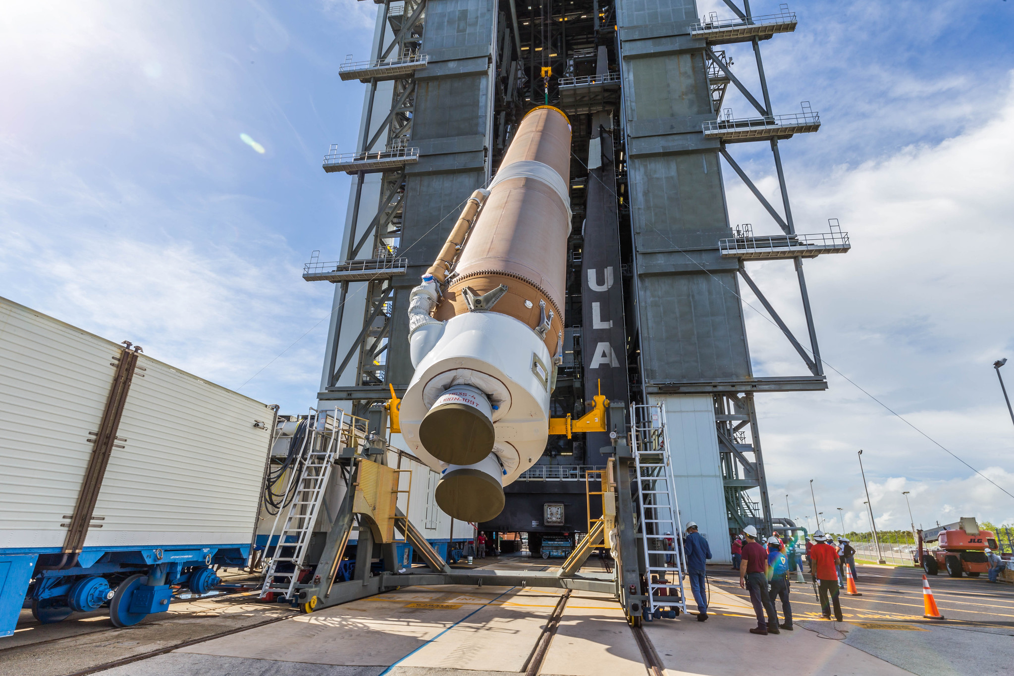 The Atlas V first stage for NROL-101 is hoisted into the Vertical Integration Facility (VIF). Photo by United Launch Alliance