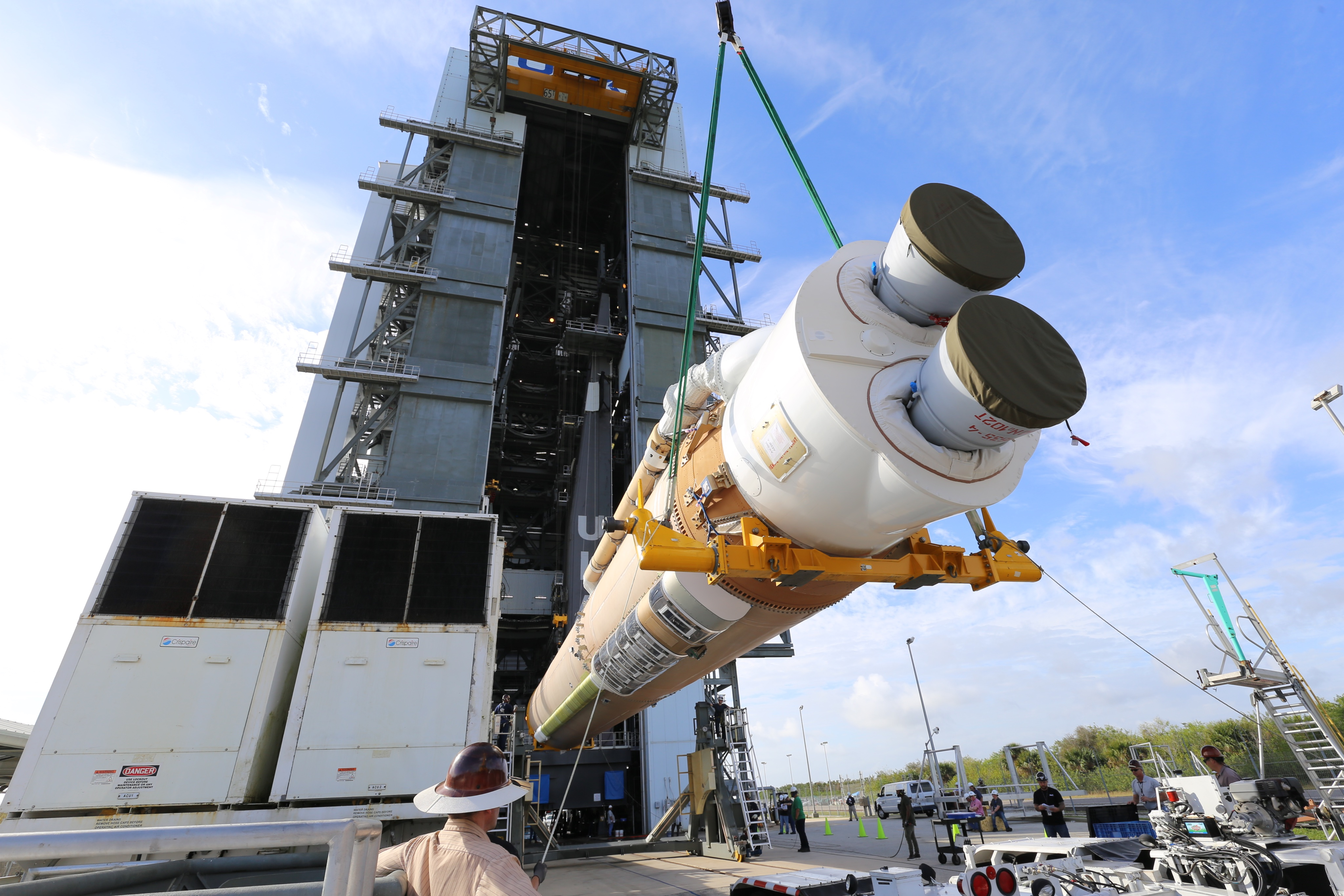 The first stage is lifted for Launch Vehicle on Stand (LVOS). Photo by United Launch Alliance