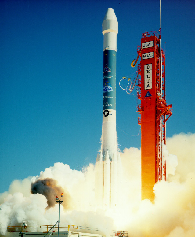 Delta II lifts off on its maiden flight. Photo by U.S. Air Force