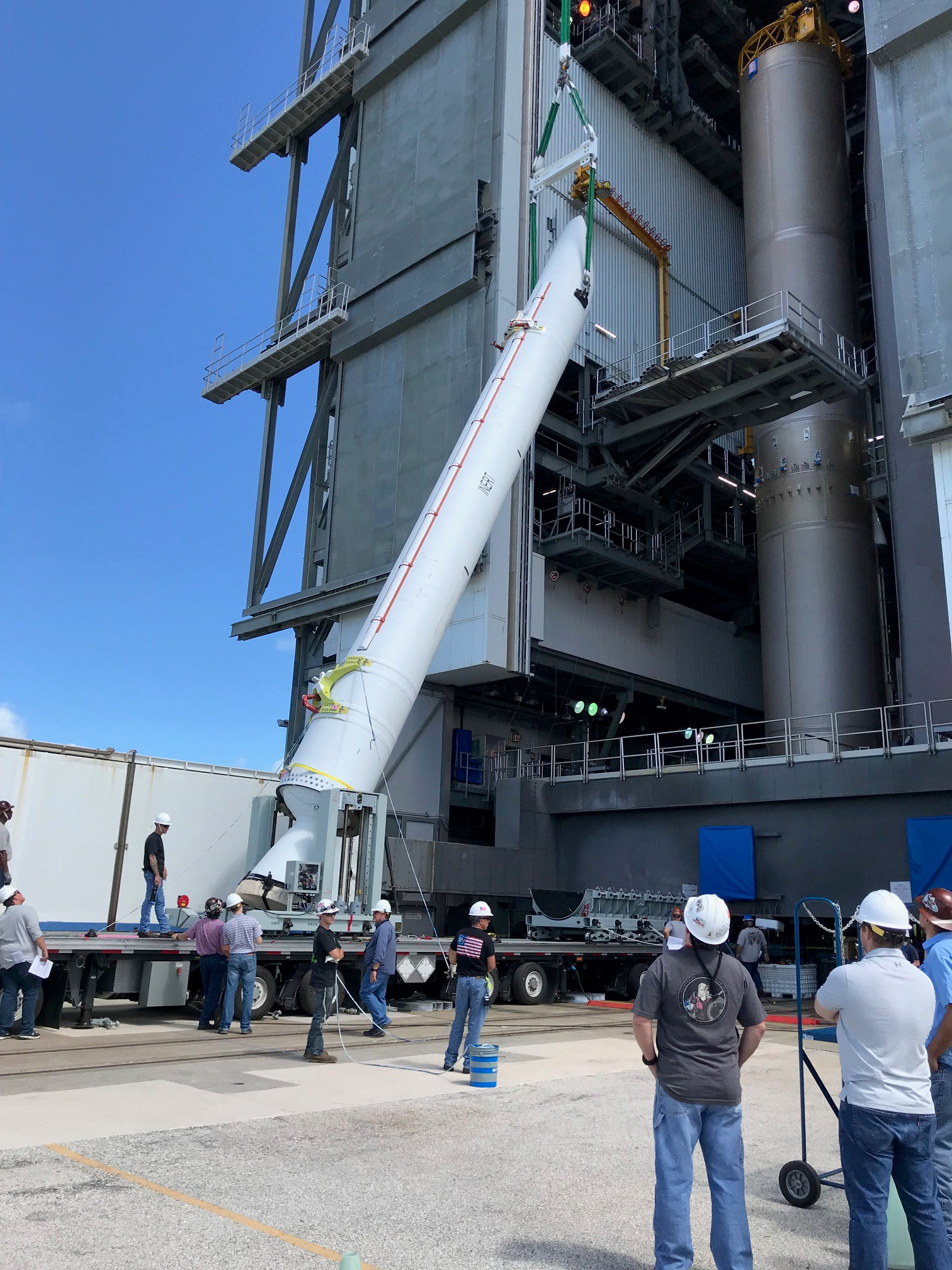 The GEM-63 Solid Rocket Booster Pathfinder is hoisted at Space Launch Complex-41. Photo Credit: United Launch Alliance