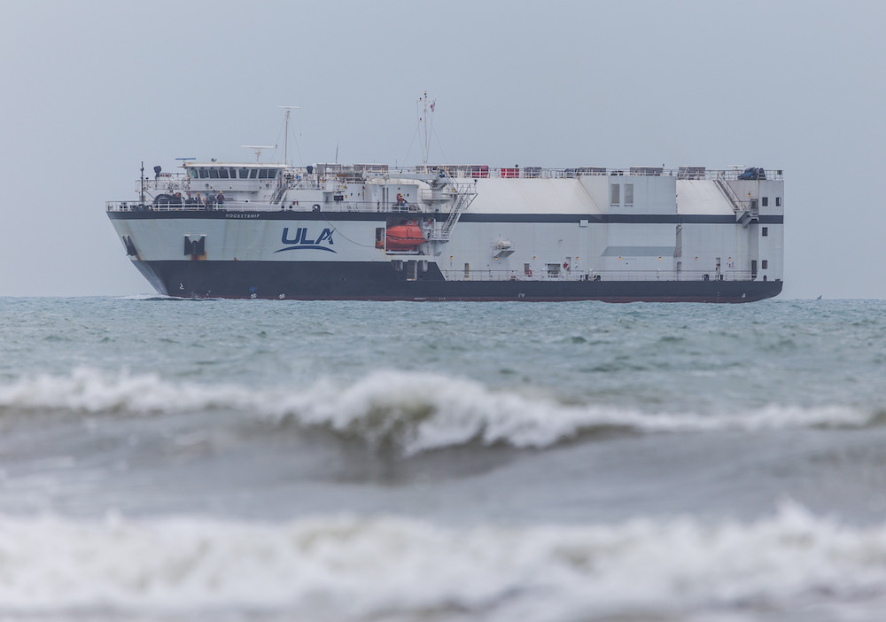 R/S RocketShip arrives at Cape Canaveral, Fla. with the Atlas V rocket that will launch the Crew Flight Test (CFT). Photo by United Launch Alliance