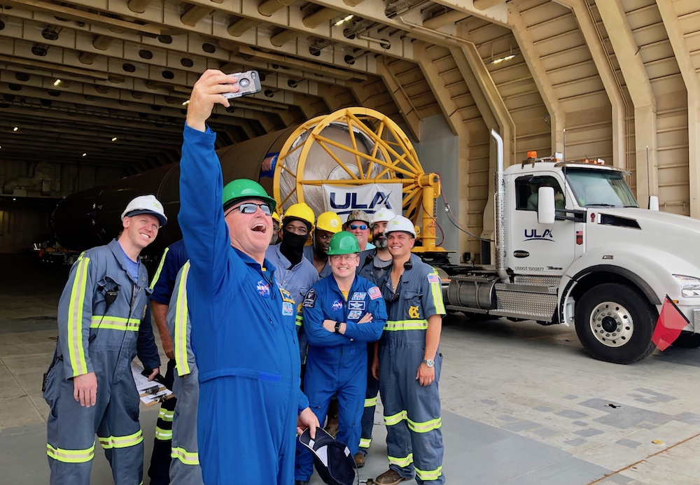 """NASA Commercial Crew Starliner Astronauts Barry """"Butch"""" Wilmore and Mike Fincke stop for a selfie with the R/S RocketShip crew. Photo by United Launch Alliance"""