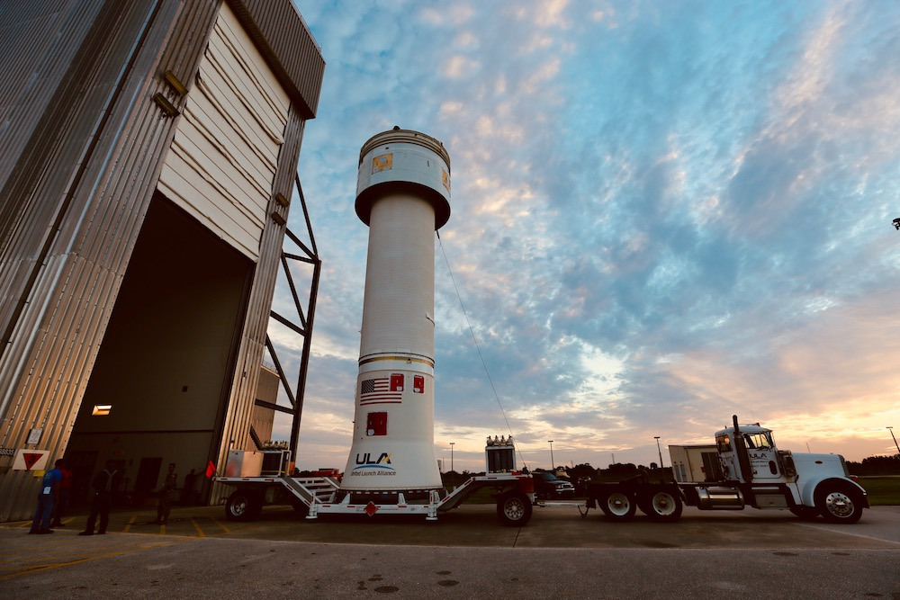 ULA's Dual Engine Centaur upper stage and Launch Vehicle Adapter is transported to the Vertical Integration Facility (VIF) to be added to the Atlas V that will launch the Starliner OFT-2 mission. Photo by United Launch Alliance
