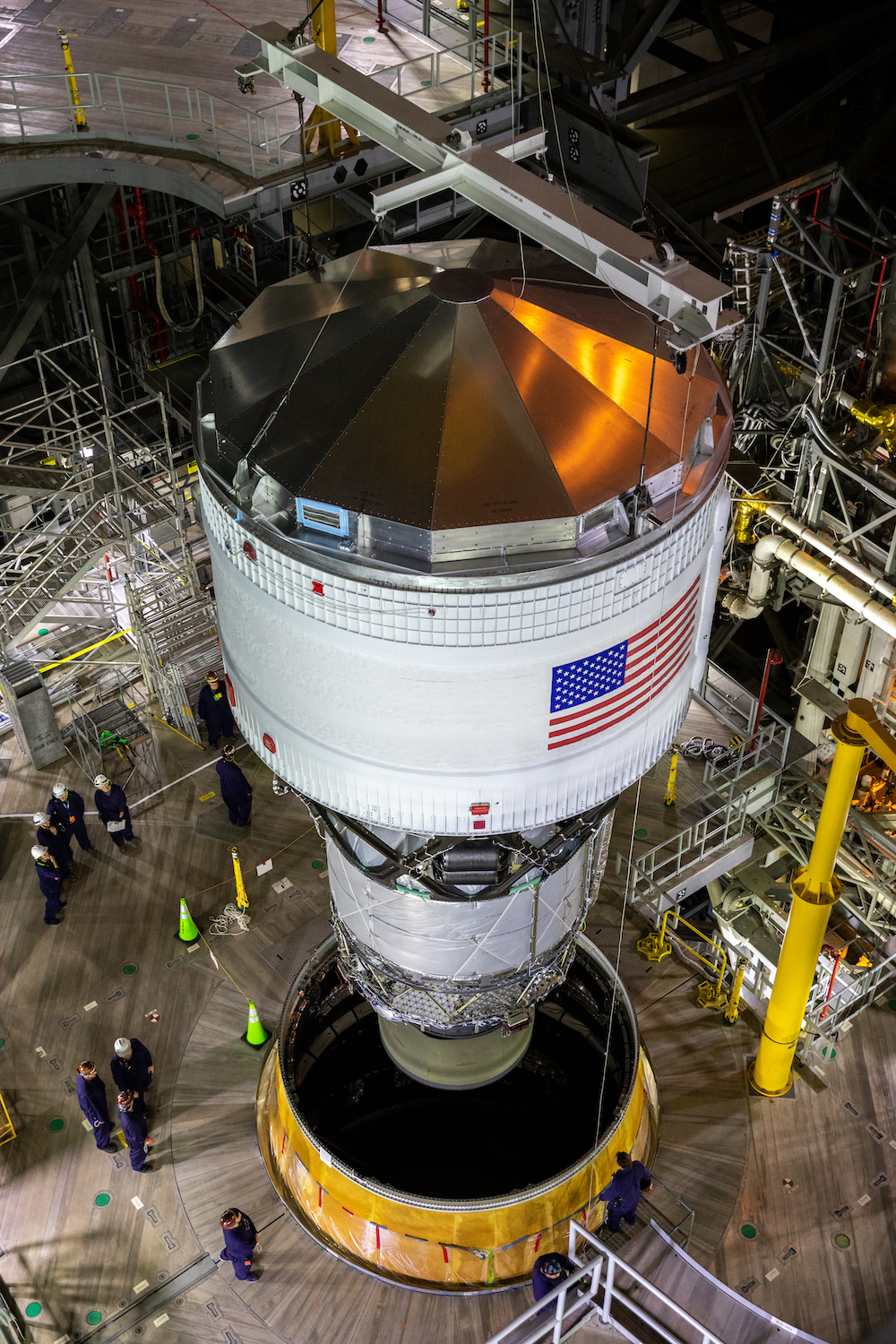 The Interim Cryogenic Propulsion Stage (ICPS) for NASA's Space Launch System (SLS) rocket with the launch vehicle stage adapter (LVSA) is integrated atop the SLS core stage. Photo by NASA