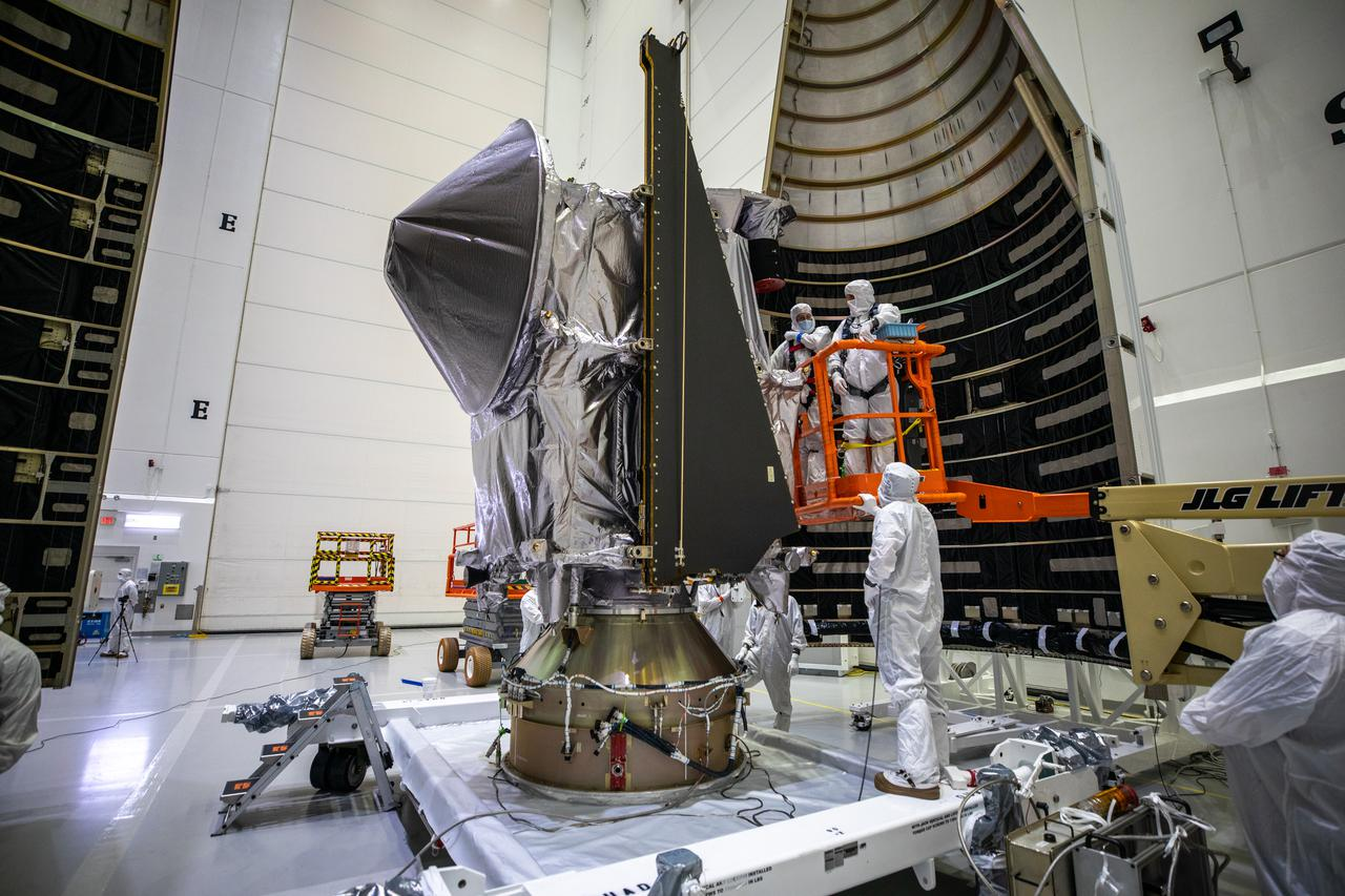 Lucy sits atop its payload adapter as seen here before encapsulation in the payload fairing. Photo by NASA