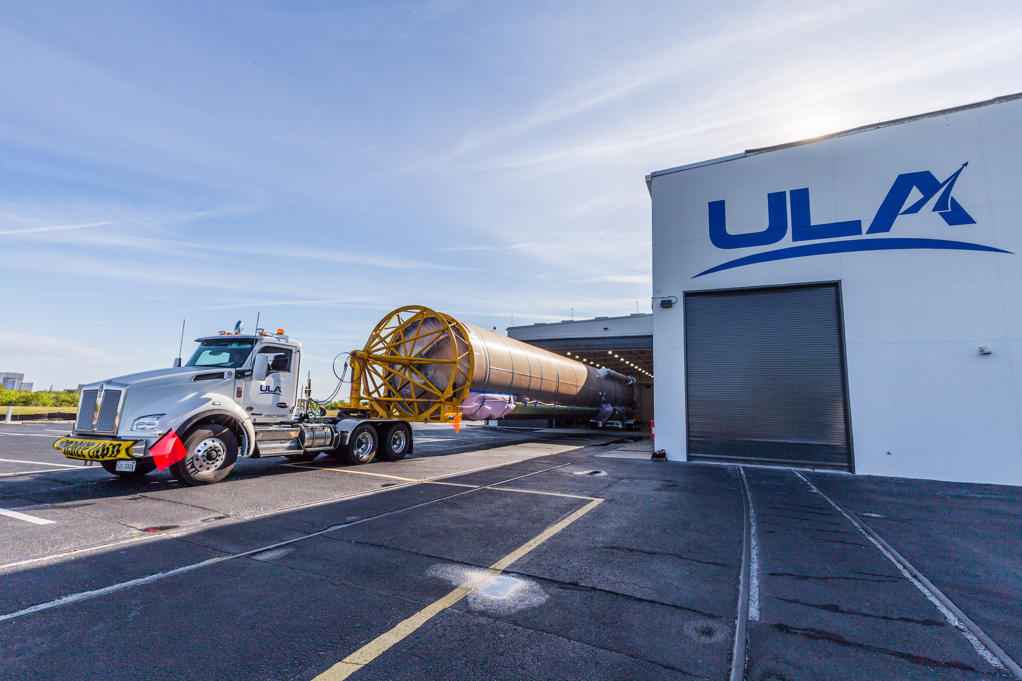 The Atlas stage arrives at the ASOC today. Photo by United Launch Alliance