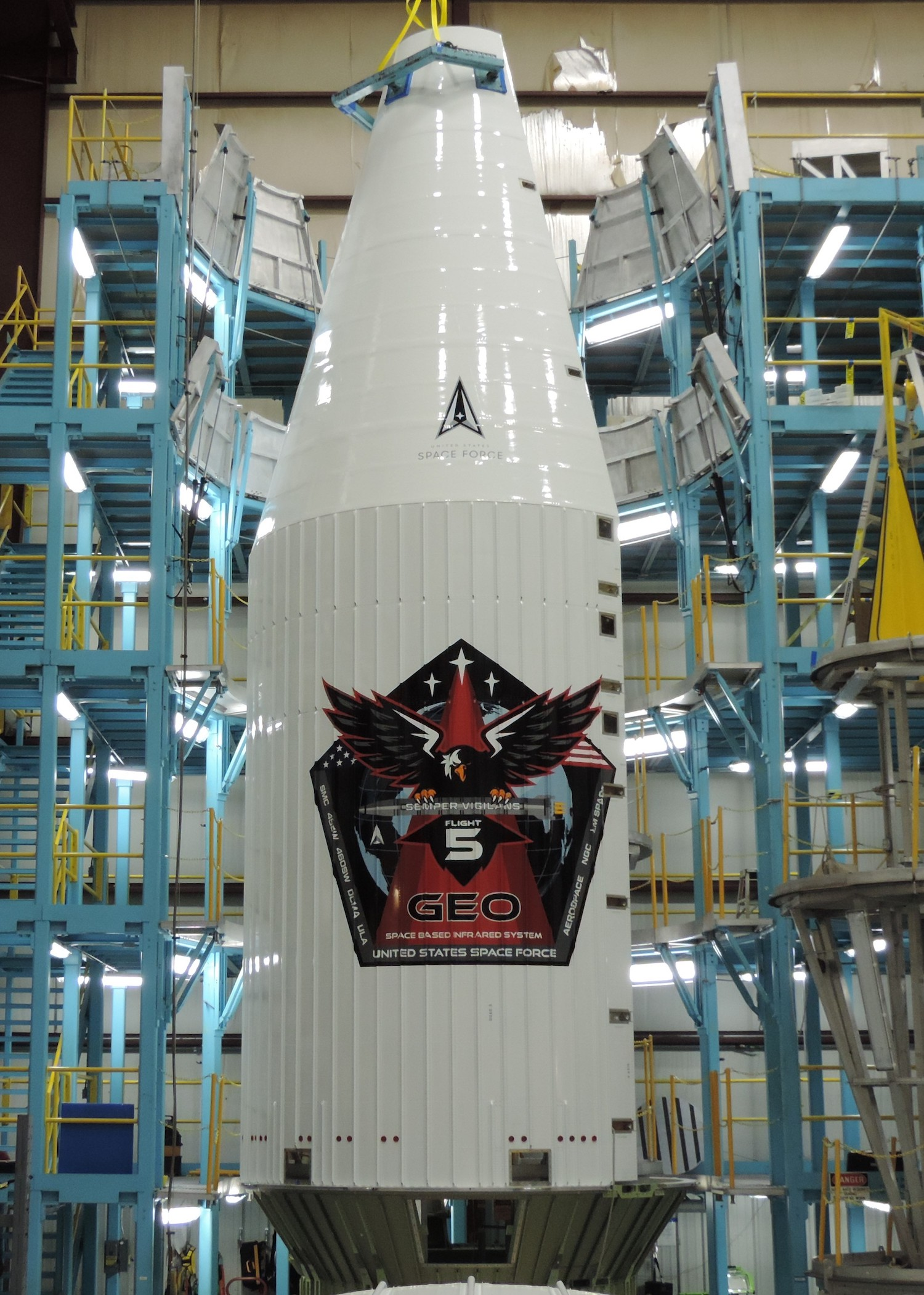 The Harlingen-made payload fairing will protect SBIRS GEO-5 during launch. Photo by United Launch Alliance