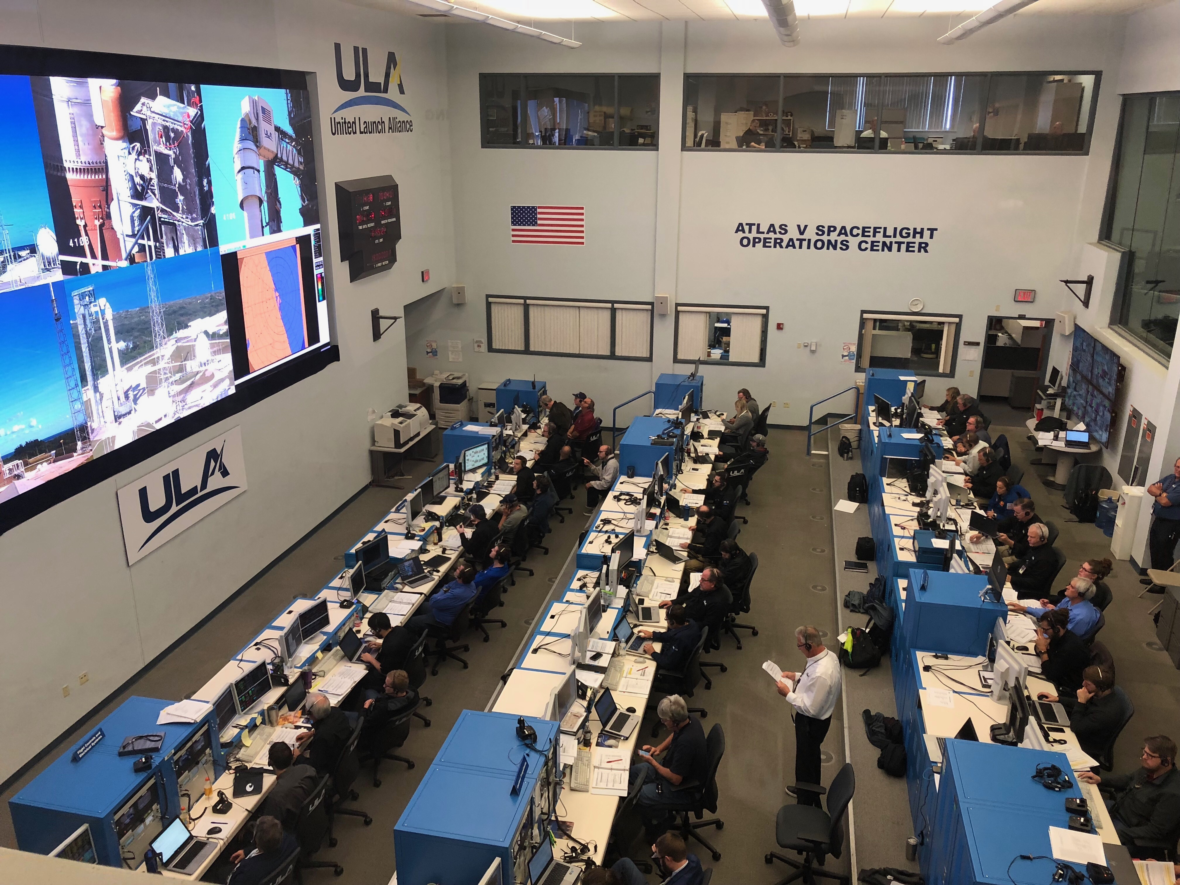 The launch team orchestrates the countdown from the Atlas Spaceflight Operations Center. Photo by United Launch Alliance
