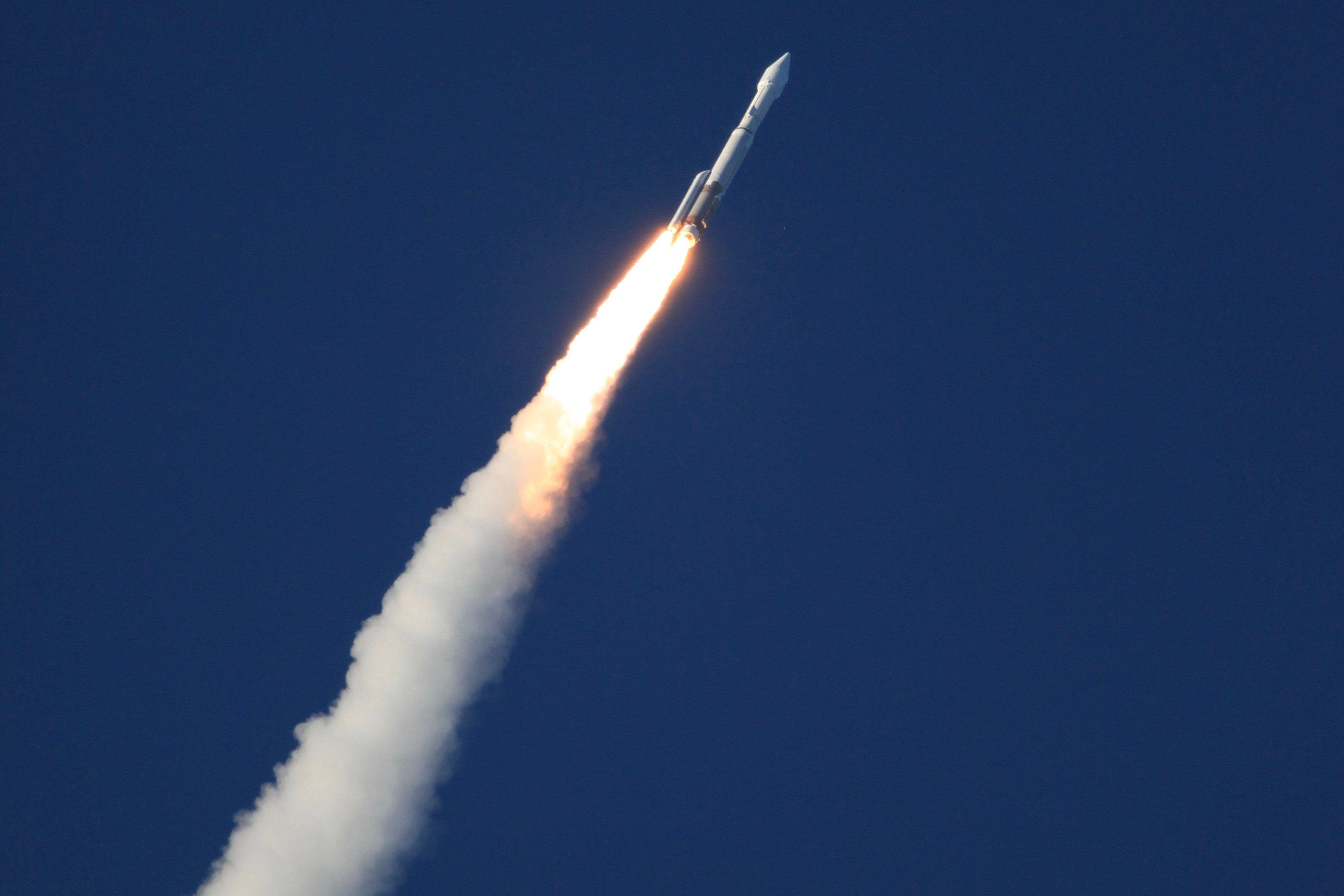 A ULA Atlas V 411 configuration rocket launches.