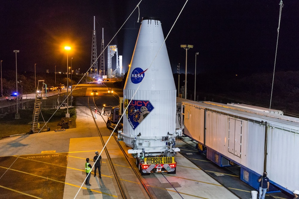 Lucy is transported from the Astrotech processing facility to SLC-41 at Cape Canaveral Space Force Station. Photo by United Launch Alliance