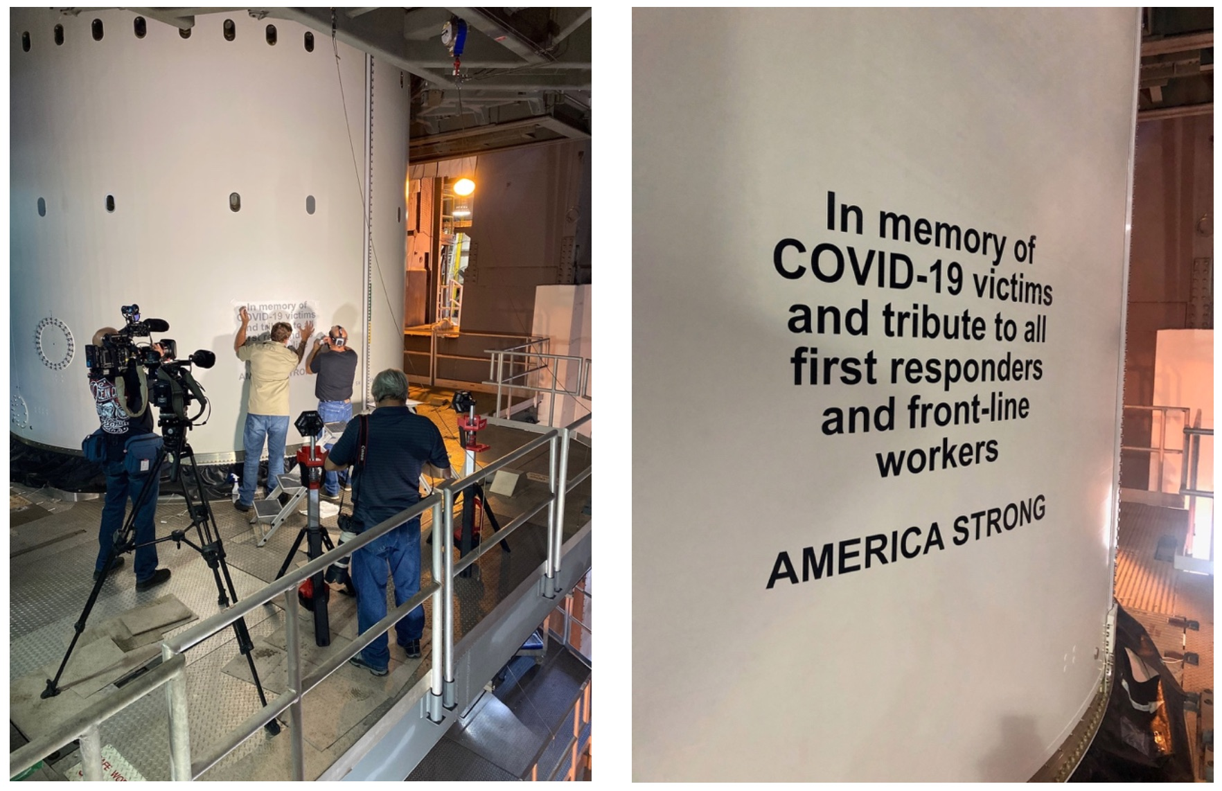 The COVID-19 dedication placed on the Atlas V rocket. Photo by United Launch Alliance