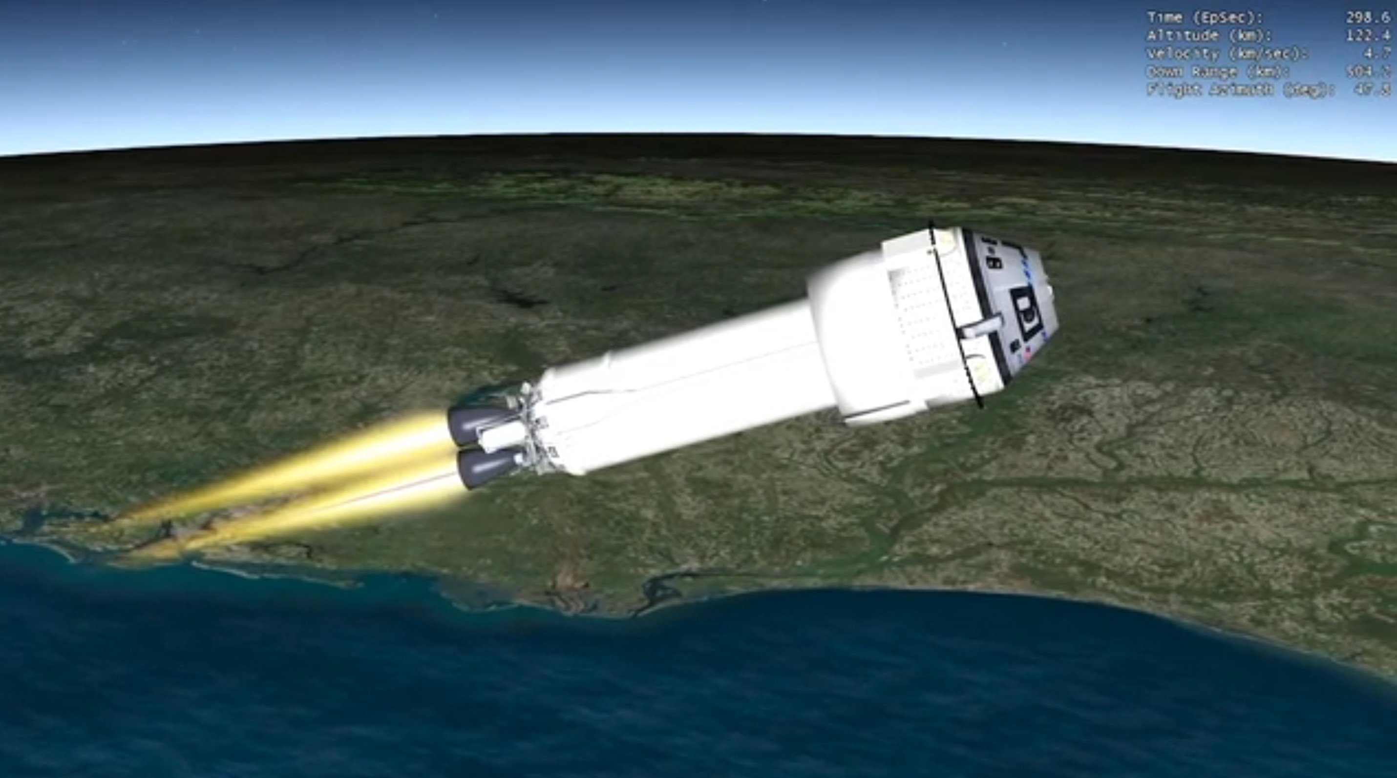 The Dual Engine Centaur pushes Starliner to space.