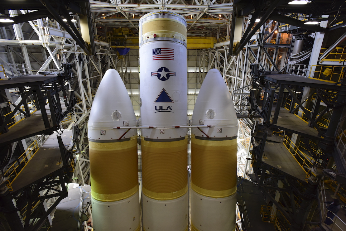 ULA's next Delta IV Heavy rocket now stands atop its West Coast launch pad at Vandenberg Air Force Base in California for the upcoming NROL-82 mission. Photo credit: United Launch Alliance