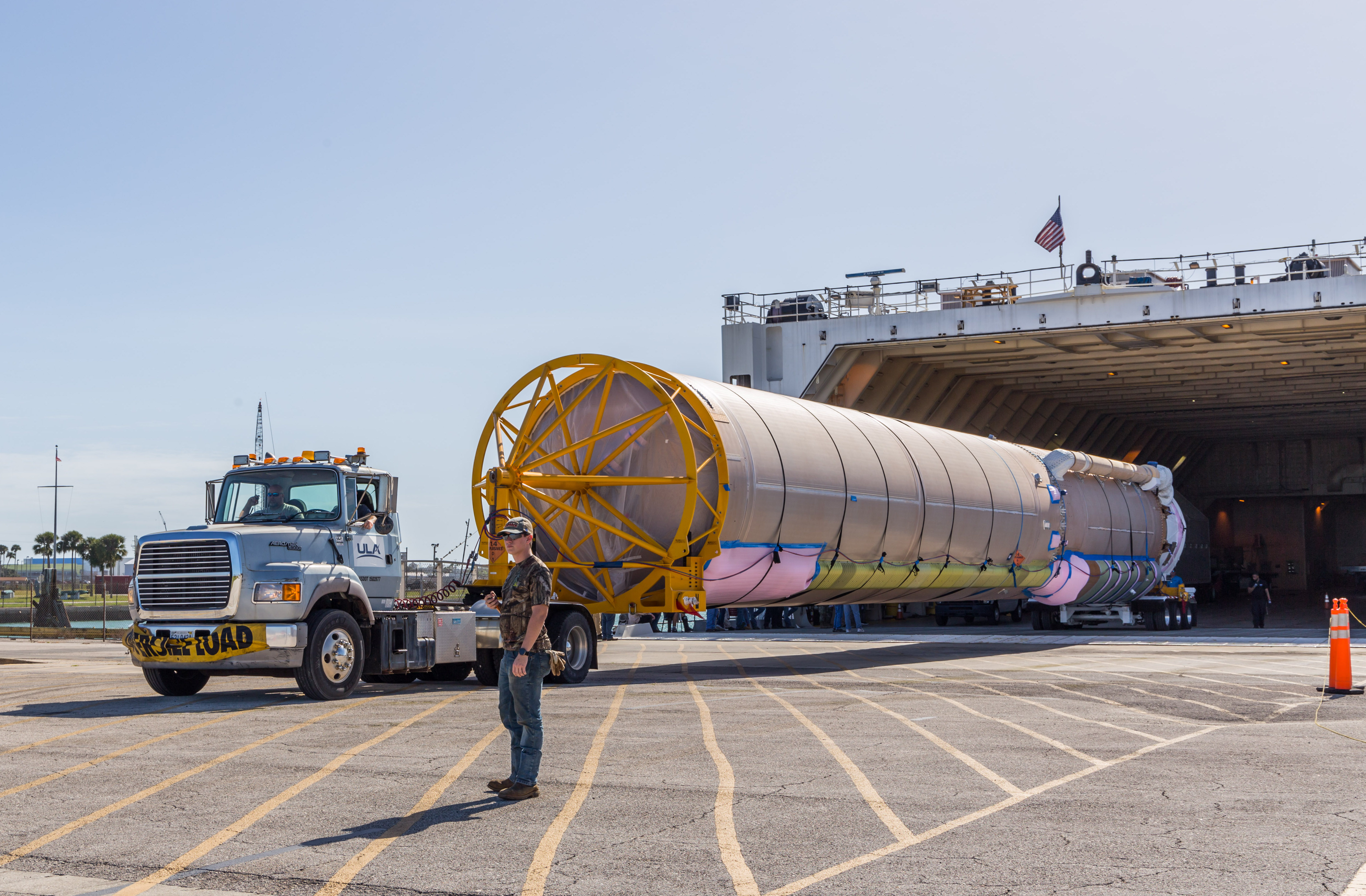 Atlas booster offloaded from RocketShip. Photo by United Launch Alliance